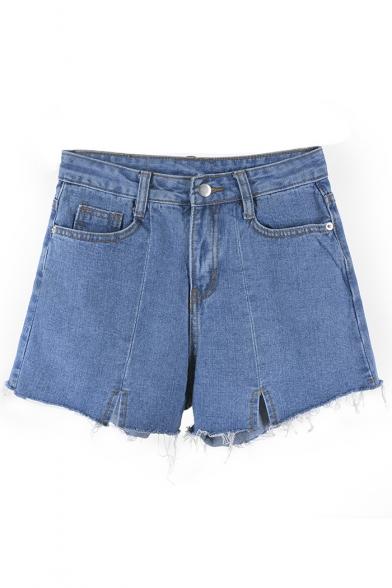 Fancy Chic Plain Ripped Off Detail High Waist Zipper Fly Denim Shorts
