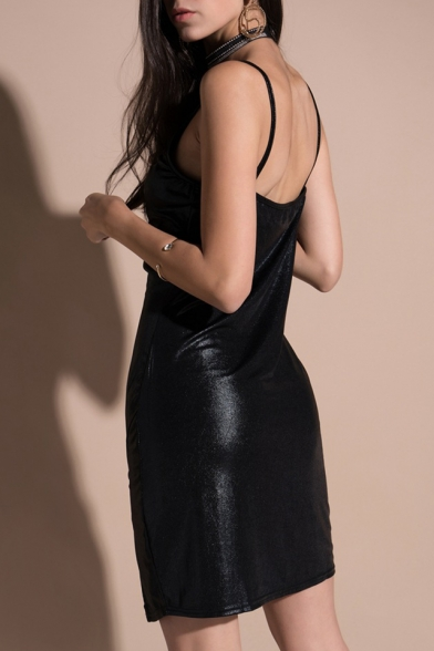 Fancy Plain Spaghetti Straps Split Front Sexy Mini Cami Summer Dress