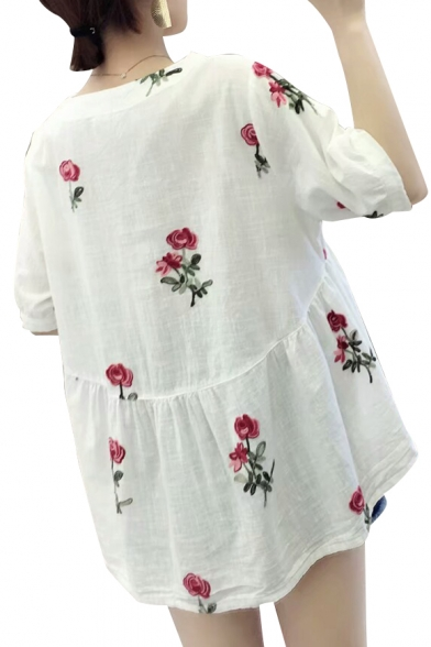 Floral Short Sleeve Embroidered Blouse Neck Round gqSnTr8wg