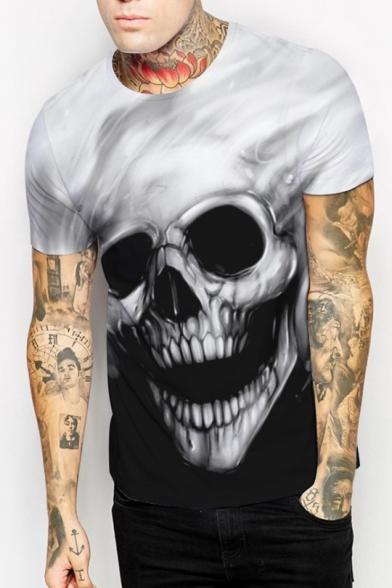 Sleeves Tee Unisex Skull Short Round Print Monochrome Gothic Neck xf8Yq7nw