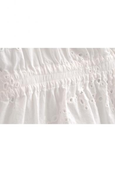 Plain Sleeve Blouse Crop Shoulder Off Hollow The Out Short H7nqF