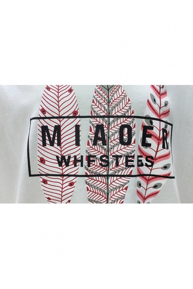 Letter Short Neck Printed Tee Sleeve Round Feather rf8Iwqr