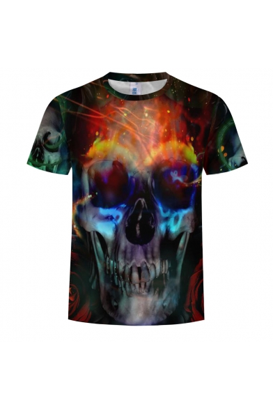 Round Tee New Sleeve Fire Trendy Skull 3D Neck Printed Short wwqz1UXxp