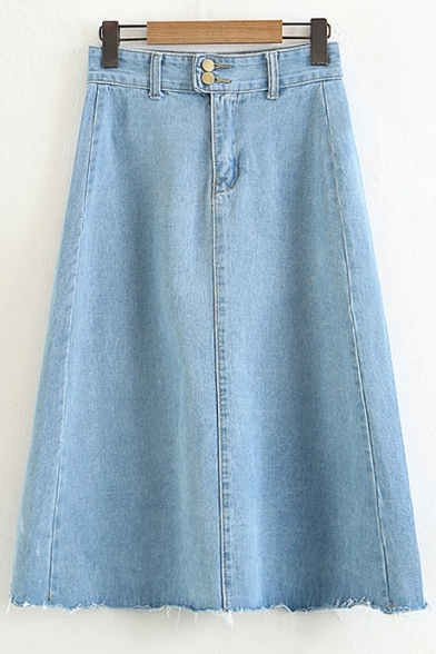 Plain Double Buttons Midi A Line Denim Skirt With Pockets