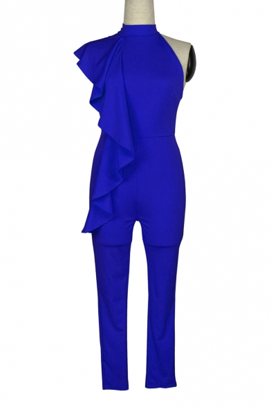 Plain One Shoulder High Neck Slim Ruffle Detail Jumpsuit LC470471 фото