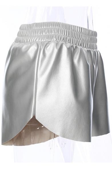 Plain PU Elastic Waist Loose Shorts