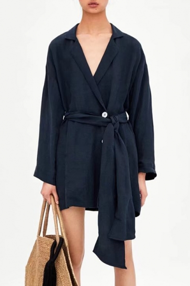 Plain Single Buttons Tied Waist Long Sleeve Notched Lapel Collar Mini Wrap Dress