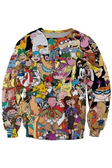 Pop Fashion Cartoon Character Print Round Neck Long Sleeves Pullover Sweatshirt