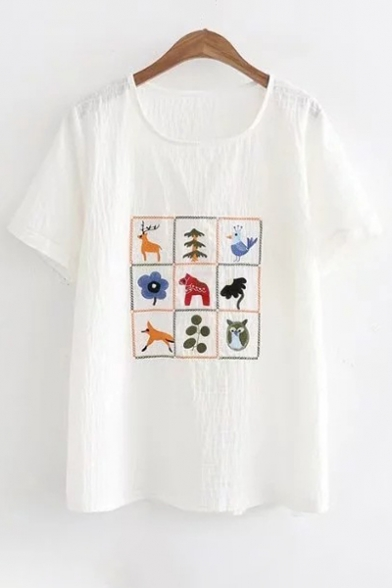 Sleeves Embroidery Short Neck T Floral shirt Owl Deer Summer Round Bird Retro gBq8I8