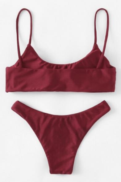 Simple Classic Plain Spaghetti Straps Summer Bikini Swimwear