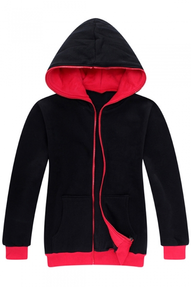 Simple Natural Color Block Long Sleeves Zip Up Hoodie with Pockets