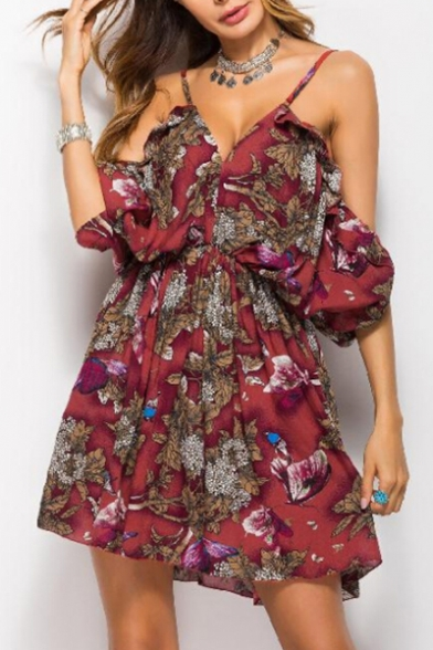 Off Mini Dress Stylish Floral line A Print the Leaf Shoulder Summer qxFSZt