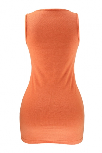 Basic Plain Sleeveless Ribbed Slim Mini Bodycon Dress