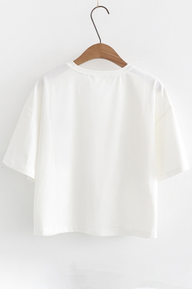 Tee Fish Embroidered Sleeve Round Neck Cat Short OYqHaa