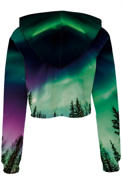 Crop Aurora Sleeve Long Printed Digital Hoodie Landscape waqxTqvZ