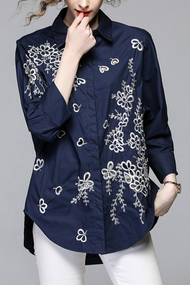 Tunic Sleeve Buttons Down Elegant Embroidered Collar Floral Shirt Lapel Long YxwxX8RqH