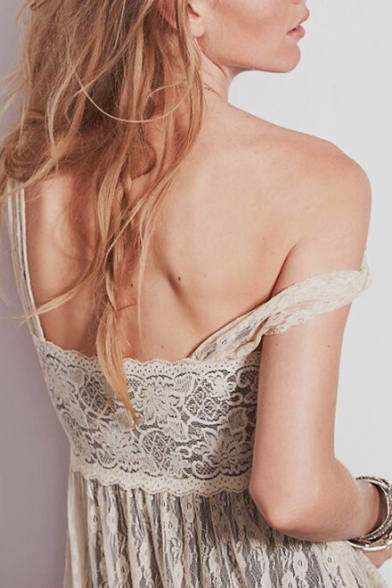 Elegant Floral Sheer Lace Straps Sleeveless Maxi Tank Dress