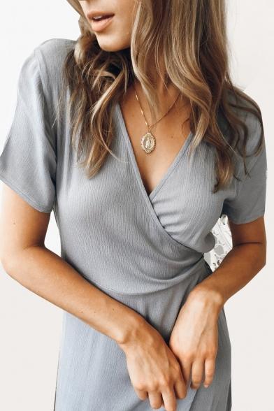 Elegant Plain V Neck Short Sleeve Asymmetric Hem Maxi Wrap Dress