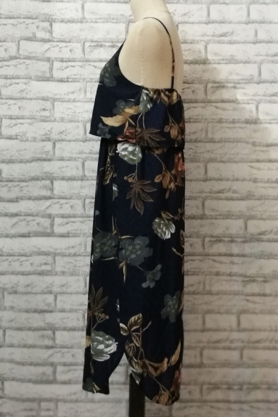 Print Split Spaghetti Cami Side Floral Dress Midi Fashion Summer Straps S7w5v5xq