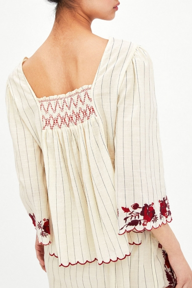 Floral Embroidered Square Neck 3/4 Length Sleeve Striped Printed Blouse