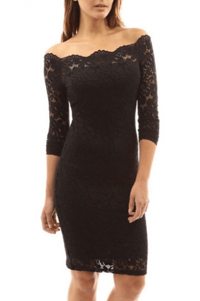 Floral Lace Insert Off the Shoulder Long Sleeve Mini Bodycon Dress