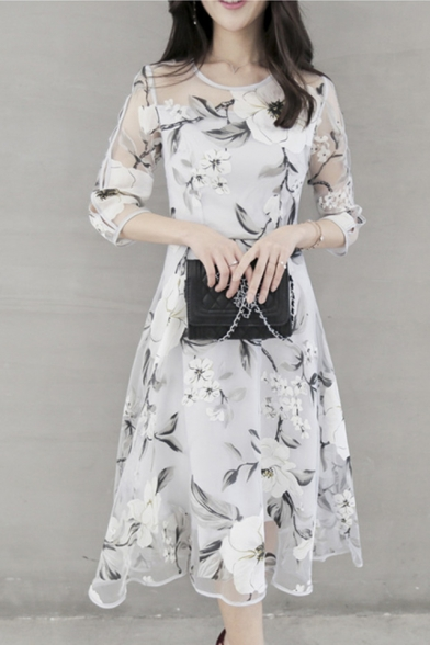 d3b1d69843d9 Floral Printed Round Neck 3 4 Length Sleeve Midi A-Line Organza Dress -  Beautifulhalo.com