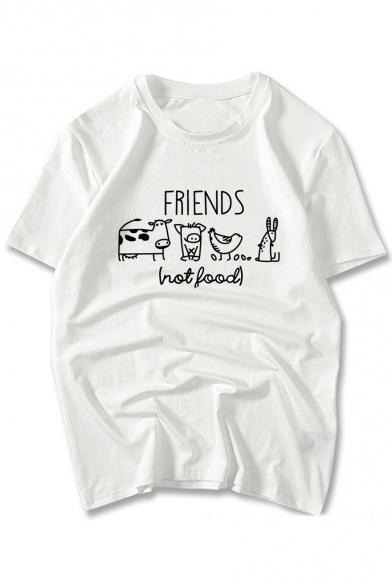 FRIENDS Animal Printed Round Neck Short Sleeve Comfort Tee