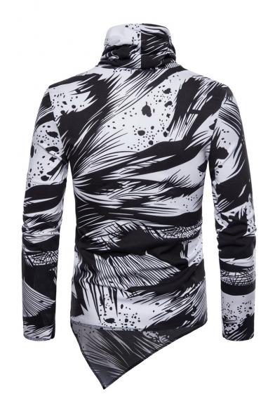 Cowl Neck Splash Fashion Hem Color Men's Asymmetrical Tee Block Print KZ04qWw87