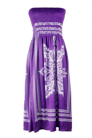 Peasant Style Tribal Print Strapless Mini Bandeau A-line Summer Dress