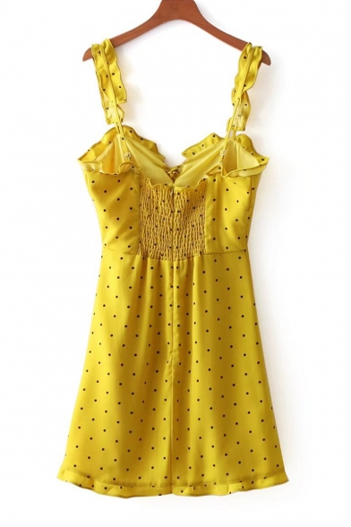 Sleeveless Spaghetti Dot Dress Straps Mini Front Polka Printed Cami Tied xP4Cwwq