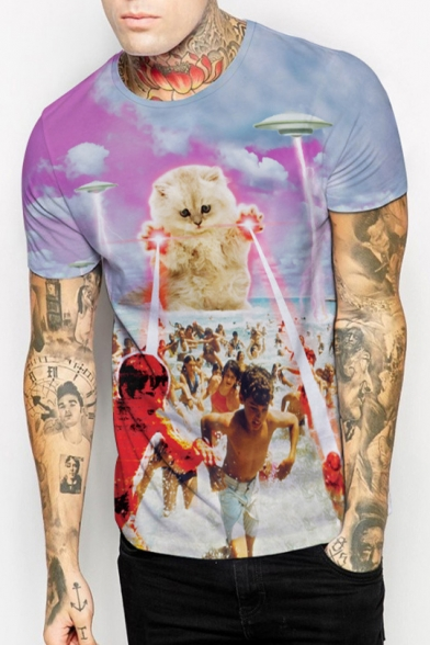 Pop Fashion Cat Laser UFO Character Print Round Neck Short Sleeves Unisex T-shirt