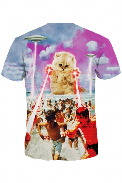 Pop Short Character Print T Neck Unisex Cat Laser UFO Sleeves Round shirt Fashion xrX8Iqwr