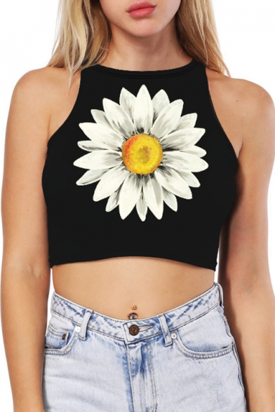 Leisure Top Floral Sleeveless Daisy Slim Fit Cropped Fashion Tank Print Pop wv8pZE