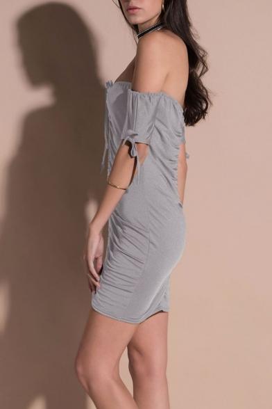 Women's Fashion Off the Shoulder Ruched Detail Plain Mini Bodycon Dress