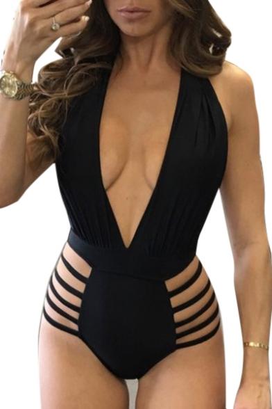 Beach Fashion Plunge Neck Ladder Side Hollow Out Slim Fit One Piece Swimwear