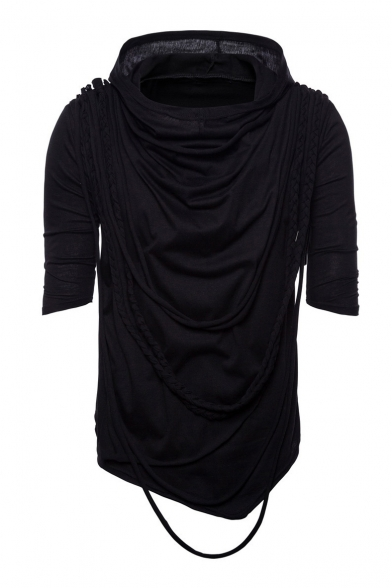 Embellished Plain Braid Tee Hooded Sleeve Short d5qq0H