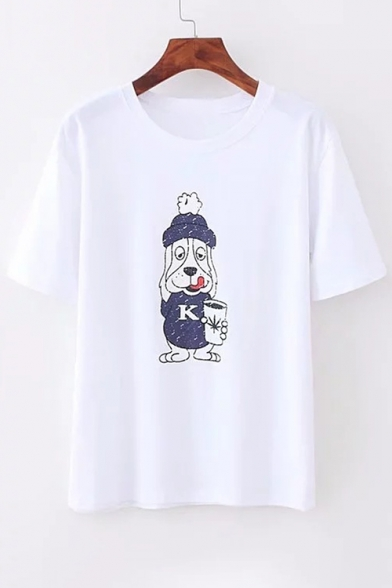 Tee Short Cartoon Round Dog Printed Sleeve Neck gwgpYBqS
