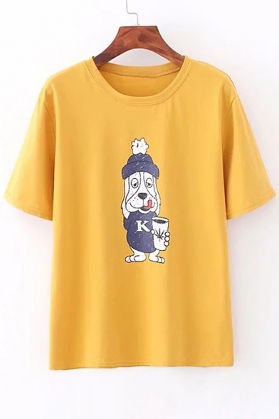 Neck Round Sleeve Printed Dog Cartoon Short Tee nxP6twv