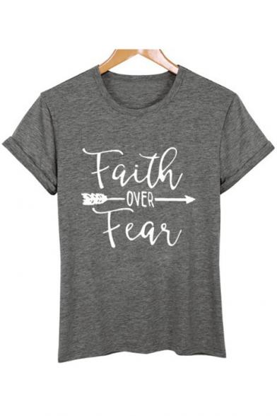 Classic Letter FAITH OVER FEAR Arrow Print Round Neck Short Sleeves Casual Tee
