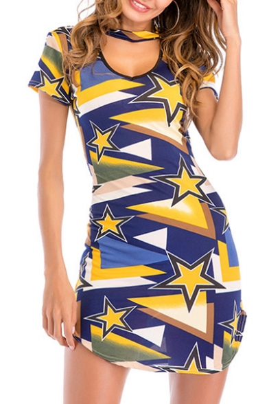 Color Block Pentagram Printed Round Neck Short Sleeve Hollow Out Asymmetric Hem Mini Bodycon Dress