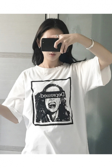 Neck Short DEPRESSED Round Printed Tee Character Sleeve pIzpZt