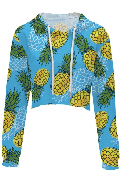 Fashion Digital Pineapple Printed Long Sleeve Crop Hoodie