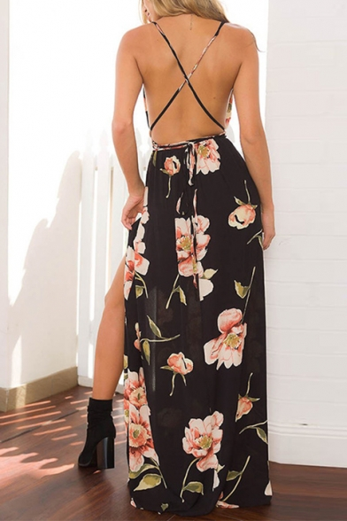Fashionable Floral Print Belted Split Front Cross Back Maxi Beach Dress