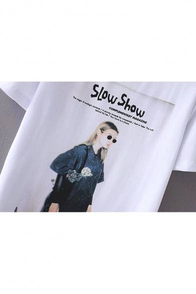 Letter Short Summer Hot Print Character Sleeves T shirt Round Neck Fashion EwqYP