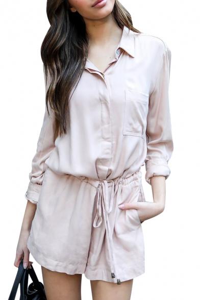 Купить со скидкой Lady Plain Lapel Collar Long Sleeve Drawstring Waist Loose Romper with Pockets