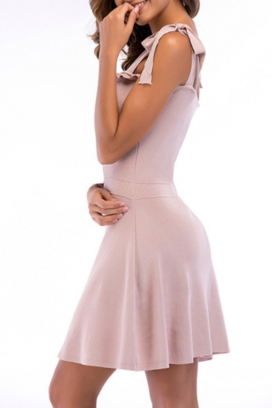 Plain Tied Straps Sleeveless Buttons Embellished Mini A-Line Dress