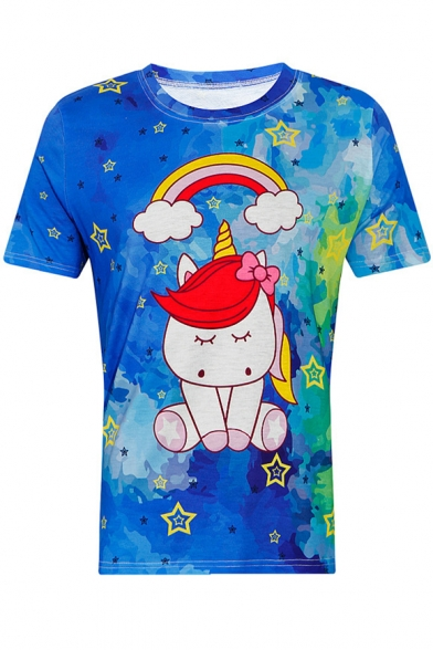 Rainbow Short Tee Sleeve Neck Printed Unicorn Round FwUpqFSr