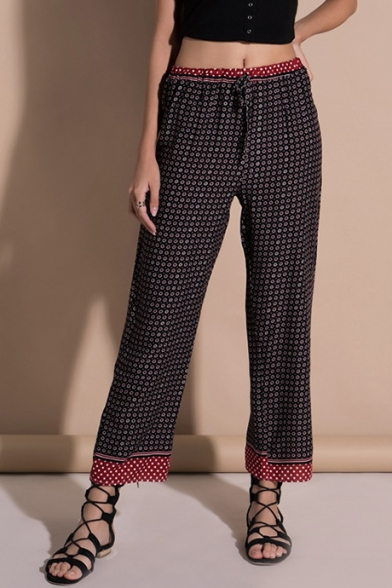 Retro Dot Print Drawstring Waist Straight Leg Casual Pants