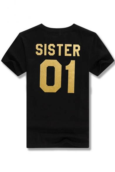 SISTER 01 Printed Round Neck Short Sleeve Tee