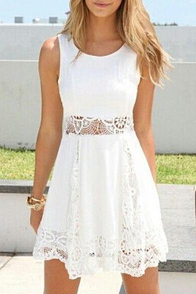 Lace Crochet Insert Plain Sleeveless A-line Dress